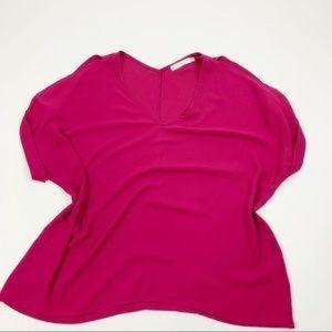 Lush Dolman Sleeve Pink Vneck Loose Blouse LG